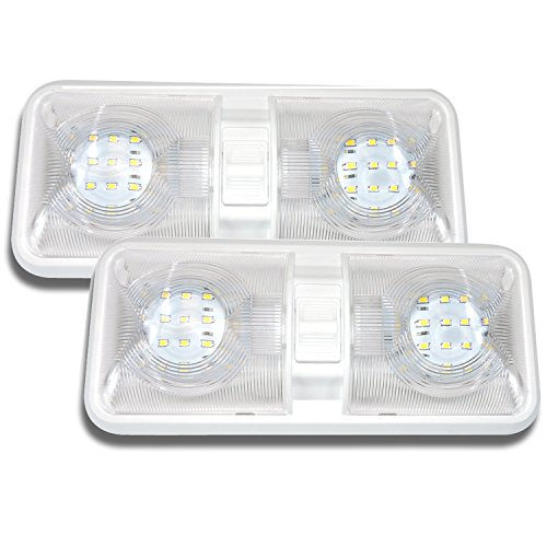 Leisure LED 2 Pack RV LED Ceiling Double Dome Light Fixture with ON/Off Switch Interior Lighting for...