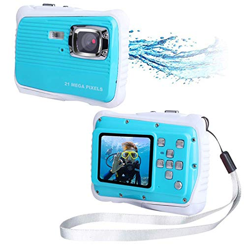 "SDDS Waterproof Kids Camera, 21MP HD with 2.0"" LCD, 4 X Digital Zoom Flash and Mic Underwater Digital Camera, for Girls Boys Best Gifts Child Camera,Blue"