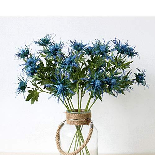 Artificial Flowers Artificial Thistle Spray Eryngo Fake Eryngium Foetidum Simulation Sea Holly for Wedding Bouquet Centerpiece Home Decor (Blue, 3)