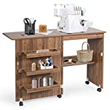 GIANTEX Mesa de costura plegable, armario para máquina de coser con ruedas, mesa multiusos para salón, estudio, dormitorio, marrón