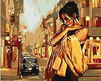 ナンバーペインティングによるDiyペイント、デジタルキット、路上での孤独な女性の絵画、デジタルキット、ブラシとアクリル絵の具を完備、大人、子供、高齢者、初心者