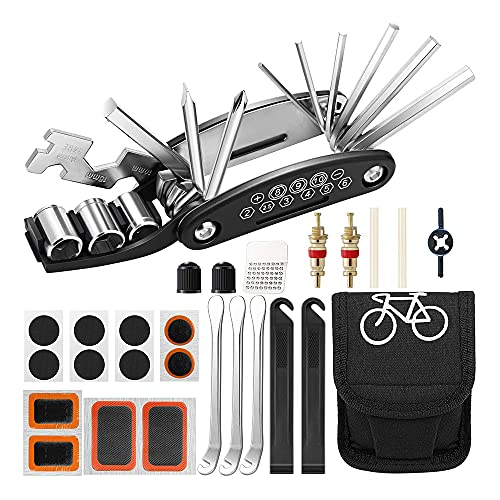 MOPOIN Fahrrad Multitool, Fahrradwerkzeug 16-in-1 Multifunktions Fahrrad Reparatur Werkzeug Set Werkzeugset Fahrrad mit Tasche Selbstklebendes Fahrradflicken Universal Fahrradwerkzeugset