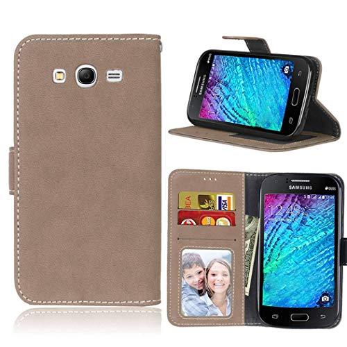 Ycloud Portafoglio Custodia per Samsung Galaxy Grand Neo Plus i9060 i9082 Smartphone, Opaca Texture PU Pelle Magnetica Flip Caso Cover con Fessura Carte e Funzione Staffa (Beige)
