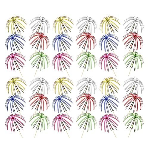 WINOMO 100Pcs Fuochi D' artificio della Torta Topper Foglio di Volant Stuzzicadenti di Natale Decorazioni della Torta 9 Pollici Albero di Cocco Forma di Cibo Picks per La Festa Favori di