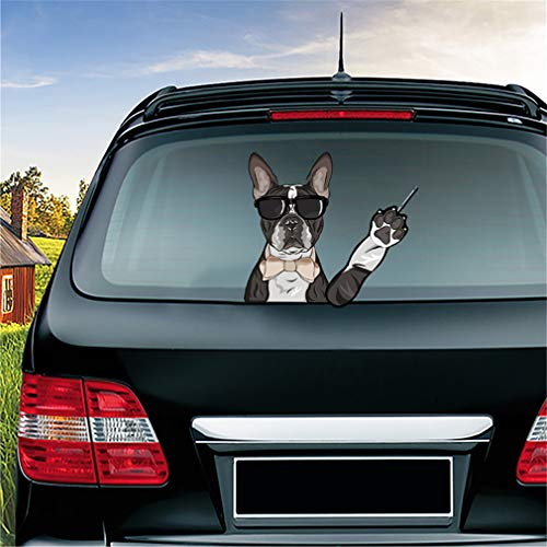 Wipersigns 1PC Cartoon French Bulldog Wiper Sticker Removable and Reusable Dog Car Stickers and Decals for Car Rear Windshield Window Waving Wiper Stickers Decors