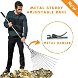 RKY Metal Telescopic Rake - Garden Leaf Rake with Adjustable Folding Head - Retractable Garden Leaves Rake Clean for Eazy & Quick Up of Lawn and Yard