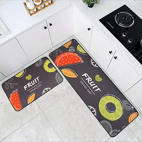W&J キッチンマット 2枚セット 台所マット 廊下敷きマット 玄関マット 足ふきマット 吸水 速乾 滑り止め ずれない 抗菌 洗える 柔らかく おしゃれ ぷにぷに触感 北欧 40x60+40x120cm(Fruits)