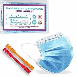 scheda 50 mascherine chirurgiche certificate ce + 2 ear saver, prodotte in italia, medicali di tipo ii, alta efficienza filtraggio, tre comodi strati di protezione in tnt blu