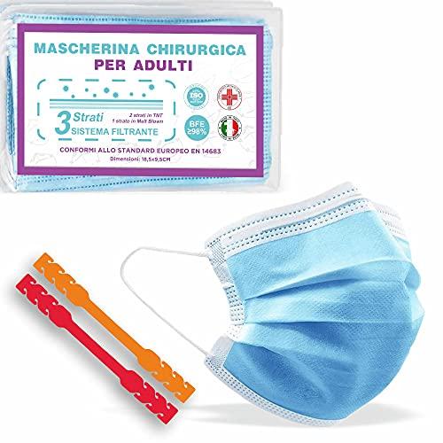 50 Mascherine Chirurgiche Certificate CE + 2 Ear Saver, Prodotte in Italia, Medicali di Tipo II, Alta Efficienza Filtraggio, Tre Comodi Strati di Protezione in TNT Blu
