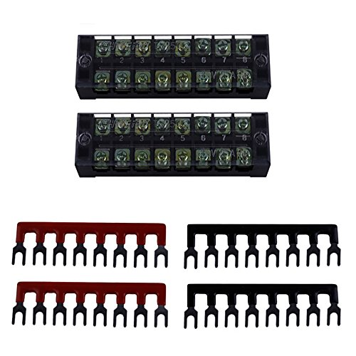 Eowpower 2Pcs 600V 25A Dual Row 8 Position Screw Terminal Strip and 4Pcs 400V 25A 8 Position Black/Red Pre Insulated Terminal Barrier Strip