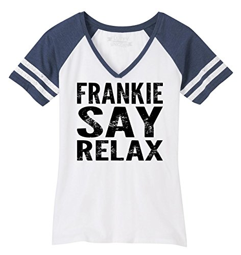 Ladies Game V-Neck Tee Frankie Say Relax Funny 80's Music Shirt White/Heathered Navy S