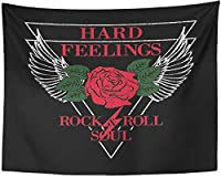 Tapestry Hard Feelings Rock and Roll Slogan Patch Badge Girl Gang Rose with Leaves Wings Punk Apparels Tee Graphic Tapestries 150x100cm