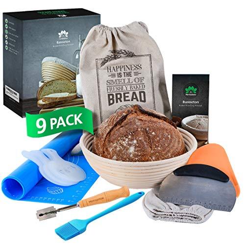 HOMEADOW Banneton Bread Proofing Basket  A Great Gift  9 Pcs Kit: 10 inch Round Brotform Linen Liner Bread Lame Bench Scraper Dough Scraper Stencils Silicone Baking Mat Bread Bag Brush | Sourdough