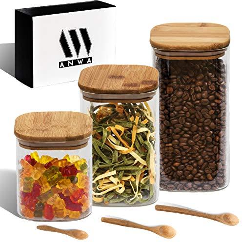 ANWA Juego de tarros cuadrados con tapa de bambú y cuchara de bambú, ideales para guardar cereales, cereales, pasta, frutas secas y mucho más (3, 0,7, 1, 1,3 l)