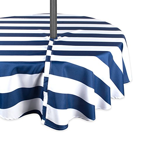 DII Blue Cabana Stripe Outdoor Tablecloth With Zipper, 60' Round w Nautical