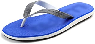 Shoes Comfortable New Flat with Mens Flip-Flops Summer Wear-Resistant Sandals and Slippers Slip Non-Slip Beach Shoes Fashion (Color : Blue, Size : M/41-42)