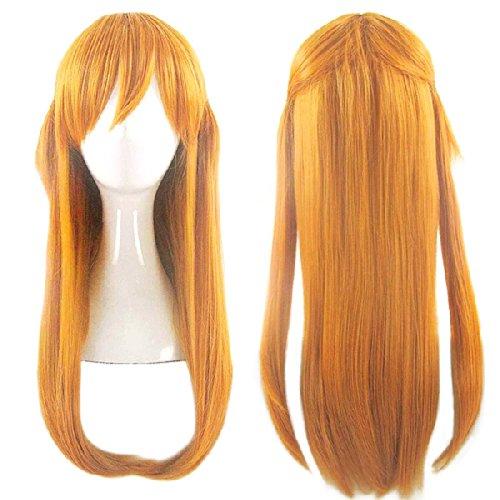 [Cosplay pruik] Evangelion Asuka Langley Oranje Gold blond rechte lange haren tips krul 60cm CaseEden originele 4-delige set (+ staan + pruik haar net twee) Heat hoge kwaliteit echte CaseEden (japan import)