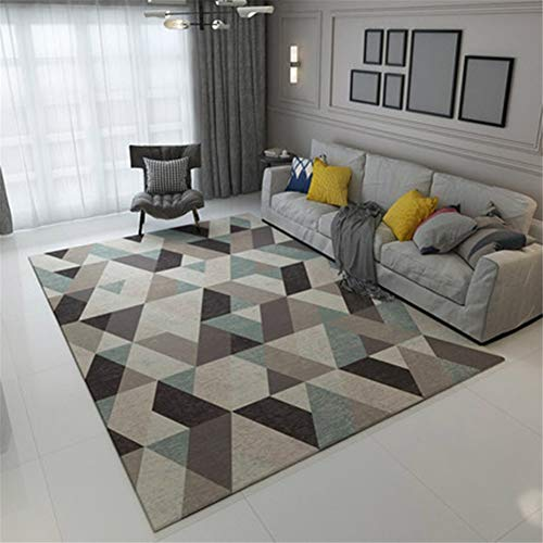 LLOPC Home Moderner Designer Wohnzimmer Teppich Geometrisches Mosaik Bunt Blumenmuster Pflegeleicht Karo Rugs Konturenschnitt Kurzflor Kinder Spielteppich rutschfest Umweltschutz R5450-140x200cm