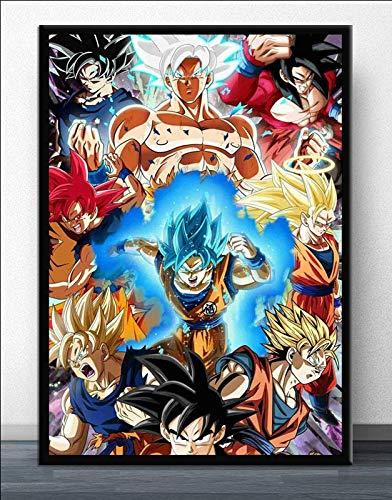 Puzzle 1000 Piezas Dragon Ball Goku Anime japonés Manga Ultra Instinct Art Painting Puzzle 1000 Piezas paisajes Gran Ocio vacacional, Juegos interactivos familiares50x75cm(20x30inch)