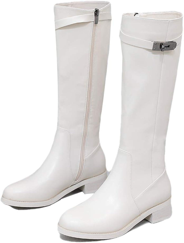 Sam Carle Women Boots, Winter Fashion Zipper Belt Buckle Thick Heel Round Toe Boots