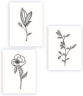 Moderne Affiche Noir et Blanc,Art Posters Plante Nordique,Minimalisme Tableaux Floral et Feuille Déco Dessin au Trait Toil...