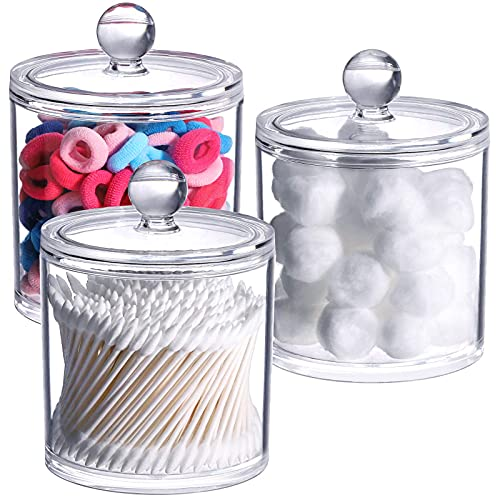 Tbestmax 3 Pack Cotton Swab Ball Pad Holder, Qtip Apothecary Jar Clear Makeup Organizer, Bathroom Containers Dispenser (20 Oz/Pcs)