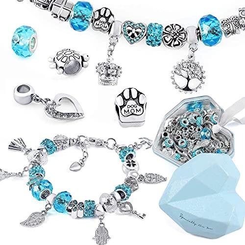Queta Set di 56 bracciali da bambina per braccialetto in argento, per ragazze e Capodanno, compleanno, 7-14 anni (blu)