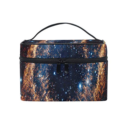 Trousse de maquillage Space Galaxy Orange Cosmetic Bag Portable Large Toiletry Bag for Women/Girls Travel