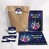 Set di 12 biglietti d'invito, buste, adesivi per il compleanno dei bambini, per ragazzi e adulti, inviti colorati per il compleanno, inviti di compleanno