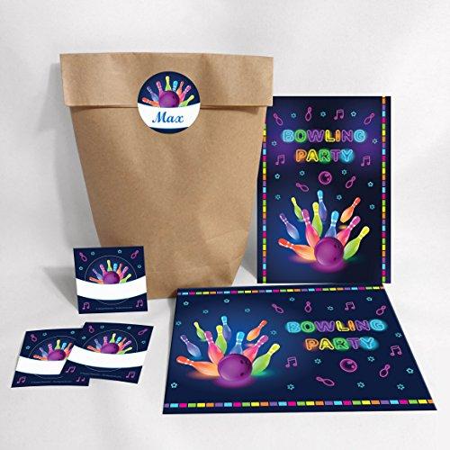 8-er Set Einladungskarten, Umschläge, Tüten, Aufkleber zum Kindergeburtstag Bowling für Mädchen und Jungen / Erwachsene / Bunte Einladungen zum Geburtstag / Geburtstagseinladungen