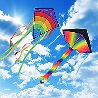 Homegoo Drachen Flugdrachen Einleiner 2 Packs, Easy Flyer große Regenbogen Delta Drachen und Riesige Bunte...