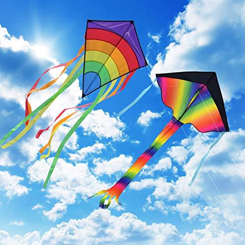 Gran Kite Cometa para Adultos 2 Packs, Homegoo Enorme Cometas de Diamantes de Colores y Gran Cometa Rainbow Delta para Adultos Actividades al Aire libre Volando Fácilmente en Vientos Fuertes o ligeros