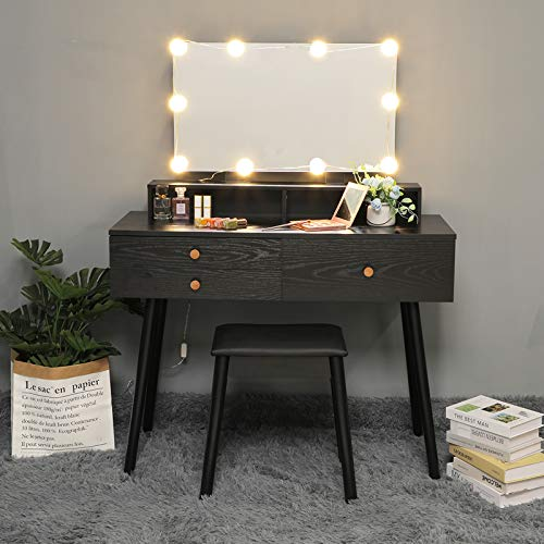 USIKEY Vanity Table Set with Big HD Mirror & 10 LED Lights, Makeup Table with 3 Large Drawers & Cushioned Stool, Dressing Vanity Table with 2 Storage Shelf for Bedroom,Bathroom, Black