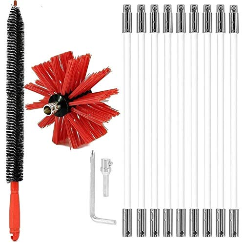 LIUPING Chimney Typhoon Power Sweeping Set, Chimney Brush Drill Powered, Kits De Herramientas De Barrido De Limpieza Rotativas con Secador, Trampa De Pelusa, Cepillo Y Llave (Size : 400mm)