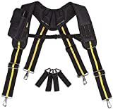 Work Suspenders Padded Tool Belt Suspenders with Phone Pocket Pencil Sleeve, Adjustable Straps