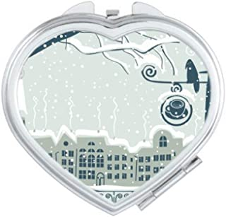 DIYthinker Snow Tree Bird City Streetlight Heart Compact Makeup Mirror Portable Cute Hand Pocket Mirrors Gift Multicolor
