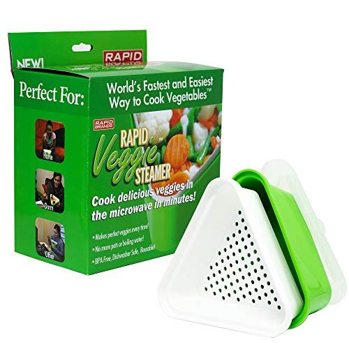 Rapid Veggie Steamer | Microwave Fresh & Frozen Vegetables in Less Than 4 Minutes | Perfect for Dorm, Small Kitchen, or Office | Dishwasher-Safe, Microwaveable, & BPA-Free