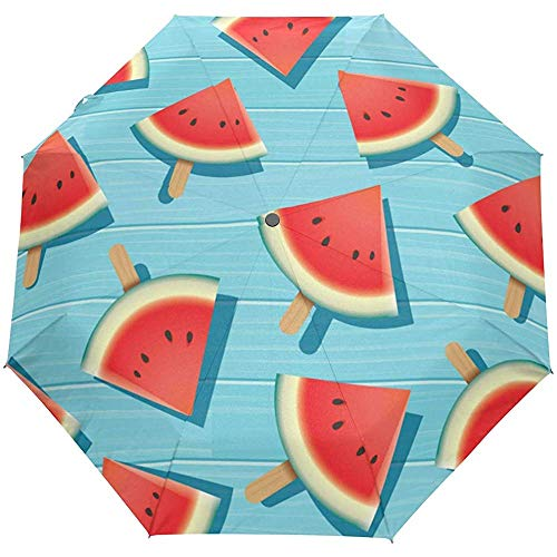 Summer Watermeloen auto open paraplu zonnescherm zonnescherm anti-UV Folding Compact automatisch