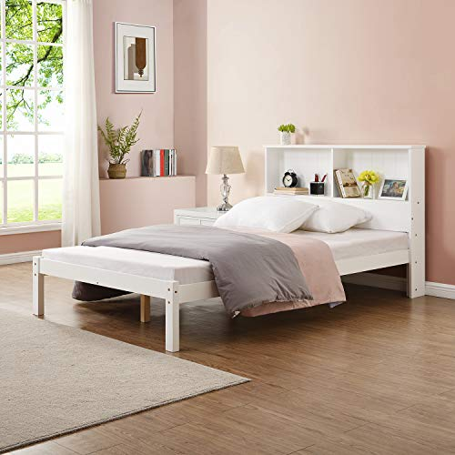 Cherry Tree Furniture Elgin FSC-Certified Wooden Bed Frame with Shelf Headboard (White, UK Small Double)