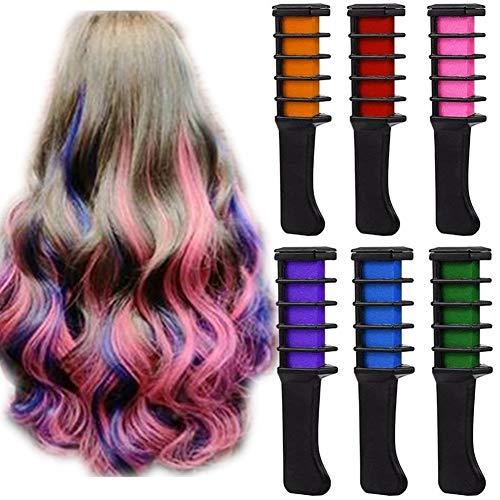 6 Farbset Temporäres helles Haar Kreidefarbkämme Mini Dye Haarfärbebürste Cosplay Waschbarer Haarfarbenkamm für Kinder Mädchen Cosplay Party Makeup Geburtstagsgeschenk
