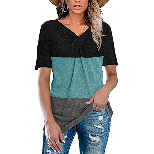 Mayntop - Maglietta da donna, tinta unita, a maniche lunghe, con scollo a V, nodo a pieghe B-nero verde 38