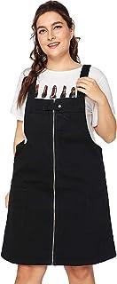 Romwe Women's Plus Size Loose Casual A Line Zip Denim Pocket Overall Dress