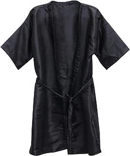 Beauprettyサロンクライアントガウンスパホテルバスローブ女性男性着物ローブ理髪布(黒)3個