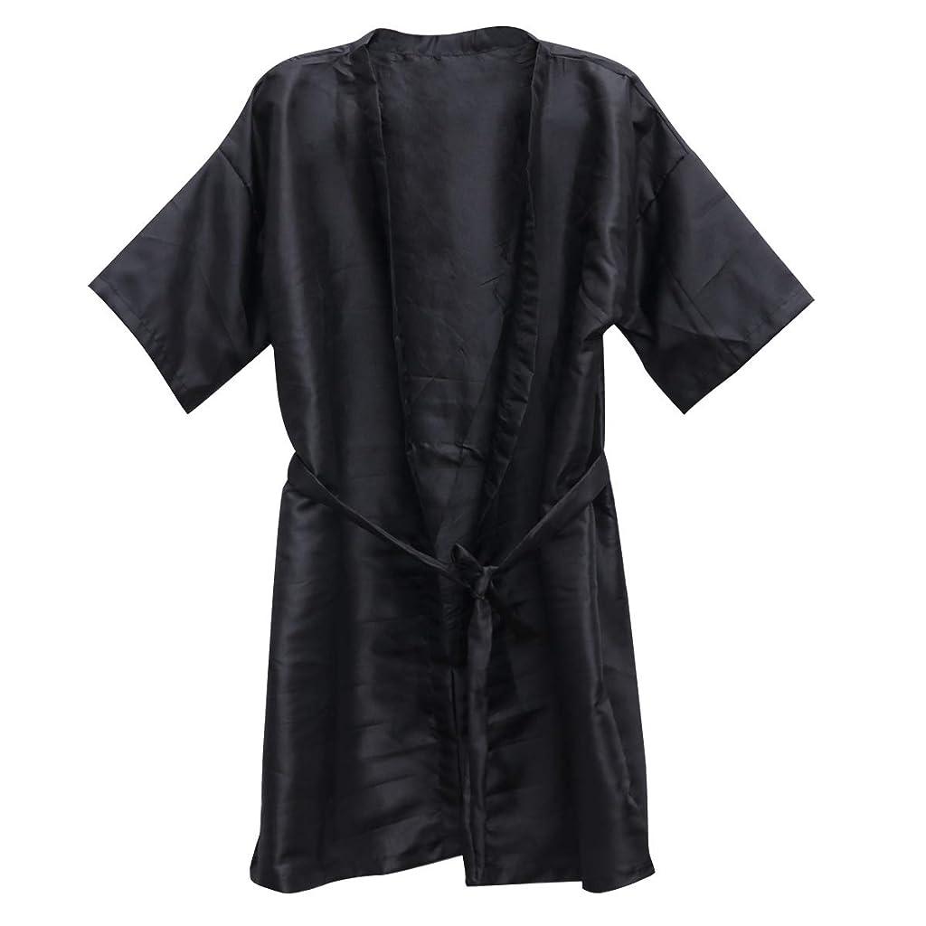 欠乏頑丈め言葉Beauprettyサロンクライアントガウンスパホテルバスローブ女性男性着物ローブ理髪布(黒)3個