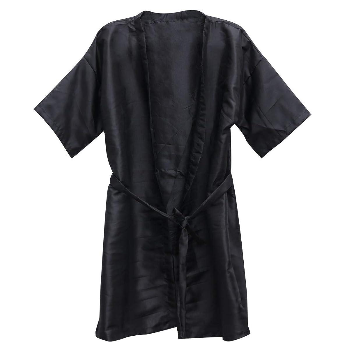 解任恩赦ユダヤ人Beauprettyサロンクライアントガウンスパホテルバスローブ女性男性着物ローブ理髪布(黒)3個