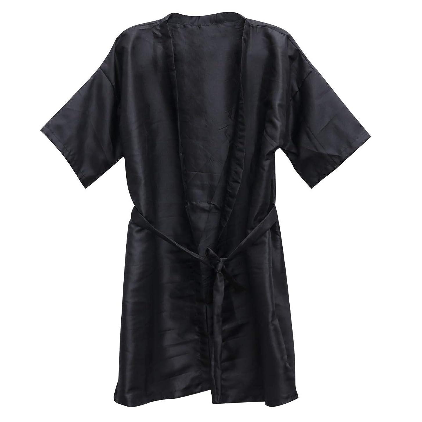 テナントクランシー予言するBeauprettyサロンクライアントガウンスパホテルバスローブ女性男性着物ローブ理髪布(黒)3個