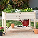 Best Choice Products Raised Garden Bed 48x24x32-inch Mobile Elevated Wood Planter w/Lockable Wheels, Storage Shelf… 13 EASY MOBILITY: Built with a set of locking wheels to move the planter from place to place and capture the right amounts of sun and shade ERGONOMIC STRUCTURE: Stands 32 inches tall, making it perfect for those who struggle to bend down or lean over while gardening GARDEN BED LINER: Separates wood from the soil, keeping planter in excellent condition and preventing weeds and pests from interfering with plant growth