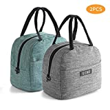HiPretty 2PCS insulated Tote Lunch Bags, Packit Freezable lunch bag, Leakproof Lunch Box