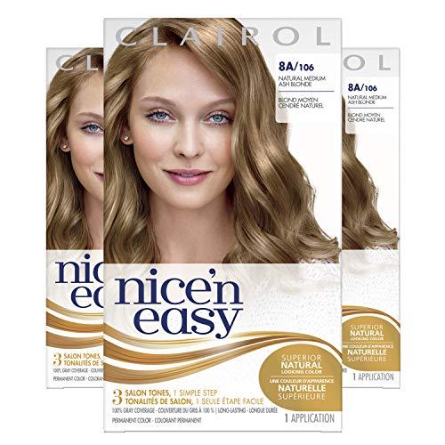 Clairol Nice'n Easy Permanent Hair Dye, 8A Medium Ash Blonde Hair Color, 3 Count