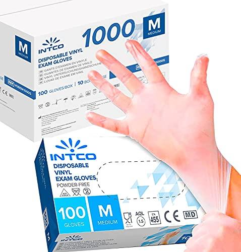 1000 guantes de vinilo desechables, sin polvo, sin látex, hipoalergénicos, certificados CE transparentes conforme a la norma EN455 y EN374 R Move (talla M 1000 guantes)